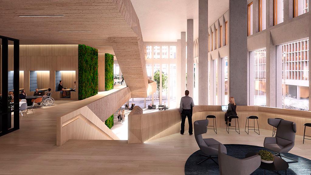 Рабочие помещения на одном из нижних этажей новых правительственных офисов