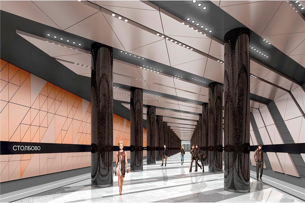 Станция метро «Столбово» планируется подземной. Западный вестибюль будет объединен для Сокольнической ветки и перспективной линии метро «Улица Новаторов», а восточный — совмещен с подземным пешеходным переходом через магистраль Солнцево — Бутово — Видное. Пропускная способность «Столбово» — 380 тыс. человек в сутки