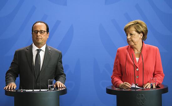 Президент Франции Франсуа Олланд иканцлер ФРГ Ангела Меркель