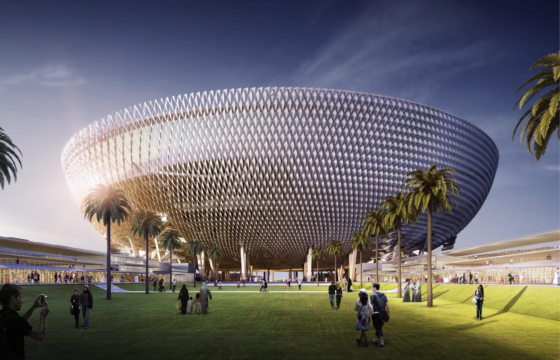 Подобно зависшей в небе летающей тарелке, Стадион Мохаммеда бин Рашидабудет возведенв 18 метрах над землей. Под игровым полем расположатся раздевалки, кафе, конференц-залы, помещения для выставок, а также парковка на 5 тыс. машино-мест