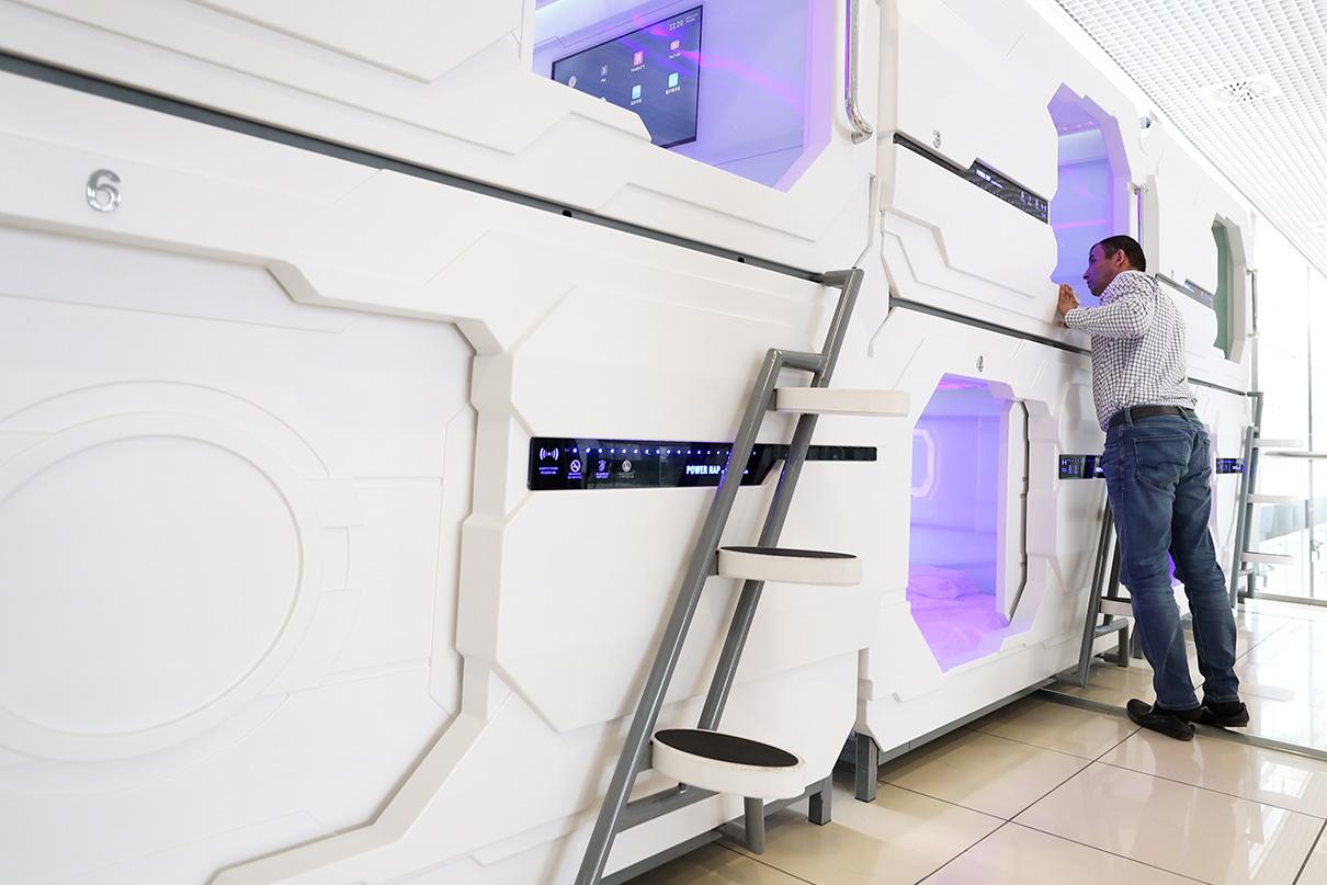 Капсульный отель Power Nap в международном аэропорту Кольцово в Екатеринбурге