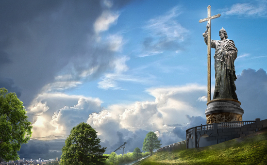 Памятник князю Владимиру на смотровой площадке на Воробьевых горах в Москве стал самым спорным объектом, возведение которого приурочено к тысячелетию крещения Руси. На фото — проект памятника