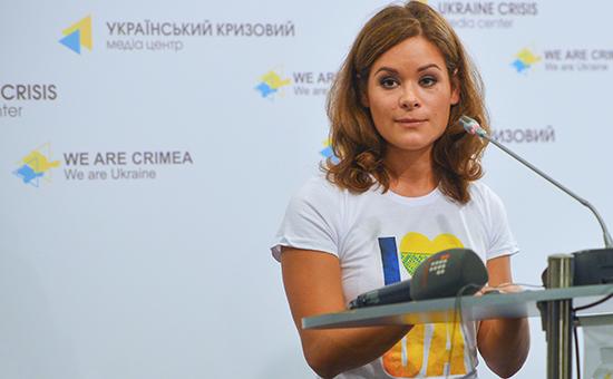 Мария Гайдар во время пресс-конференции в Киеве. Архивное фото