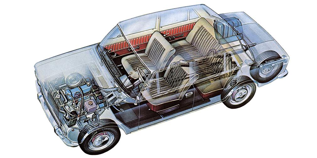 В конструкцию Fiat-124 внесли более 800 изменений. По результатам испытаний дисковые задние тормоза заменили на барабанные, немного увеличили дорожный просвет, усилили кузов, подвеску и трансмиссию. Кое в чем ВАЗ-2101 оказался современнее прототипа: у него появился собственный мотор с верхним распредвалом объемом 1,2 л (62 л.с.) и травмобезопасные ручки дверей.