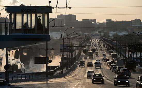Мост через реку Обь в Новосибирске