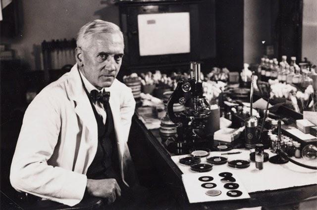 Флеминг в своей лаборатории
