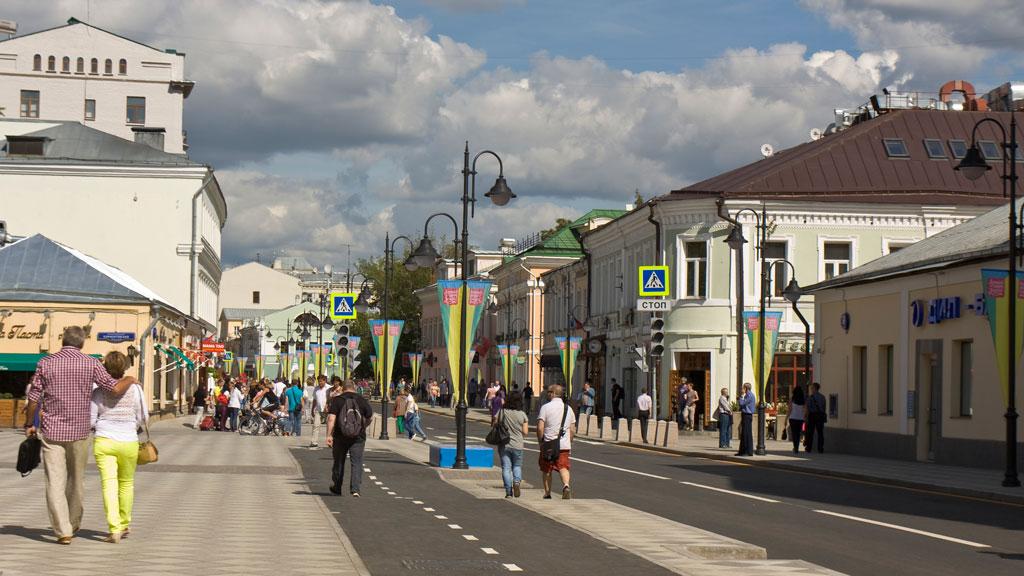 Во время открытия новой пешеходной зоны наПятницкой улице