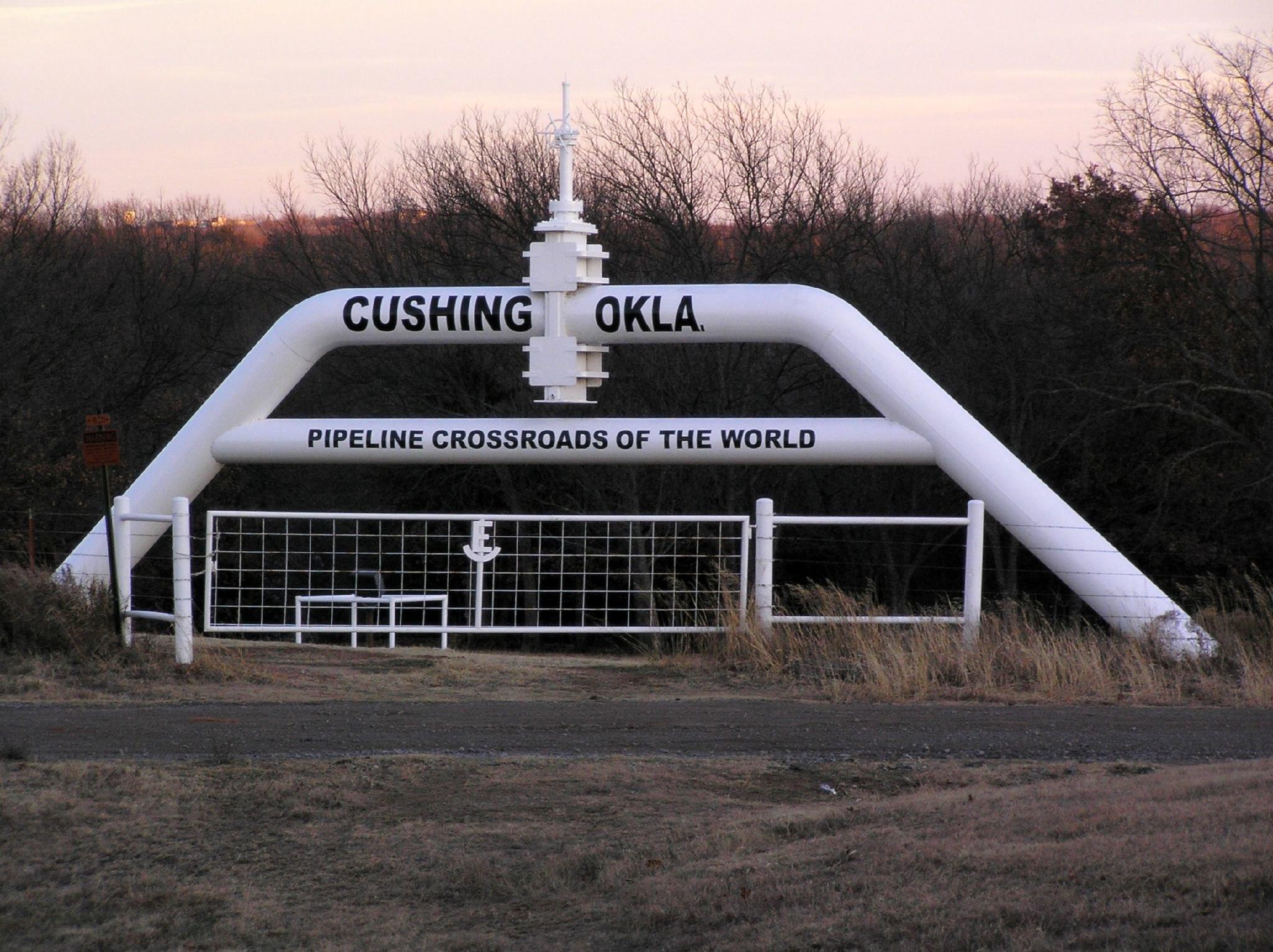 Монумент «Пересечение нефтепроводов» в Кушинге, Оклахома. В этом городе расположен торговый хаб для сырой нефти и огромные хранилища