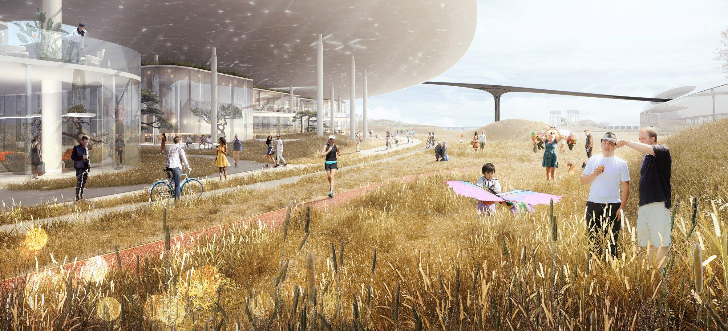 Архитекторы из студии MAD Architects планируют вписать кампус в окружающую саванну и одновременно придать офису «инопланетный» вид