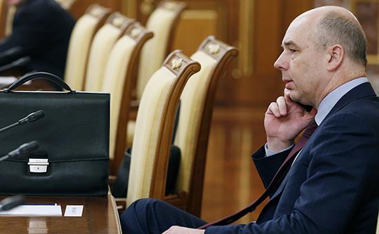 Министр финансов РФ Антон Силуанов назаседании правительства РФ