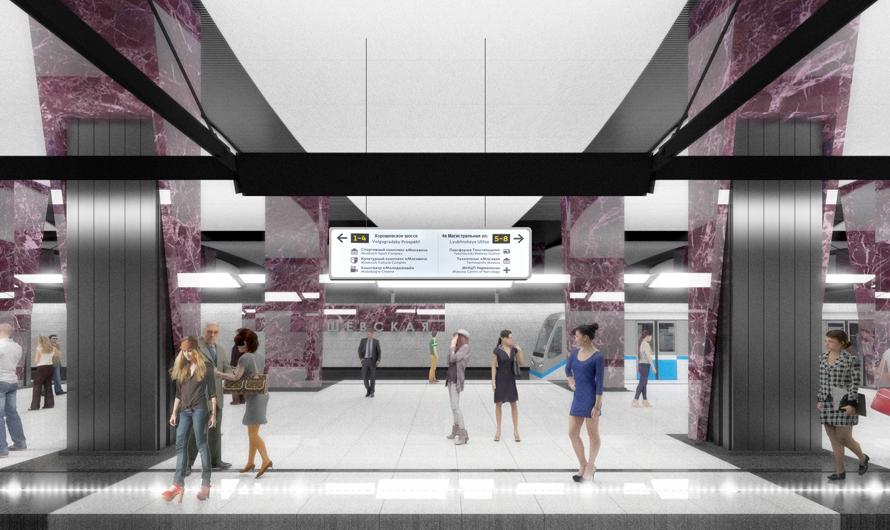 Фиолетовый гранит наполу инастенах «Хорошевской» призван напомнить пассажирам отом, чтосэтой станции можно пересесть на«Полежаевскую», которая относится кфиолетовойветке московского метро