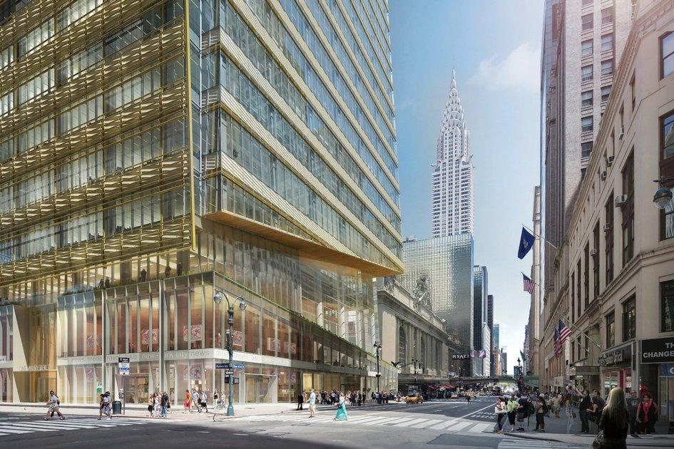 Суженный объем нанижних этажах позволяет предоставить максимально возможную площадь дороге итротуару, остекление визуально расширяет пространство, аскошенные грани третьего этажа позволяют неблокировать вид наЦентральный вокзал Нью-Йорка