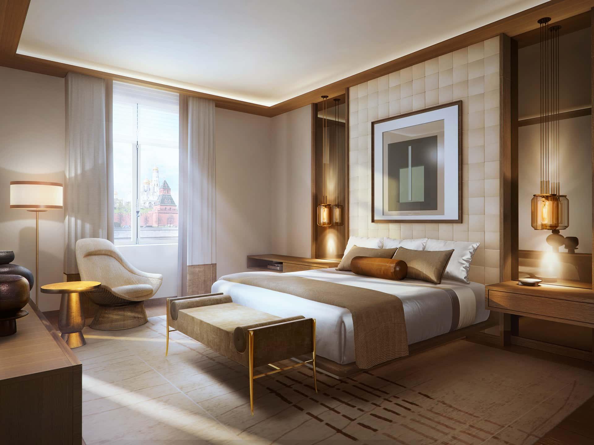 «Современный»  В спальне— тонкая полоска французских обоев FILL PASSION ненавязчиво продолжается в рисунке пола