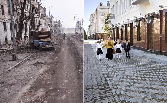 Город Грозный в 1995 году и в наши дни