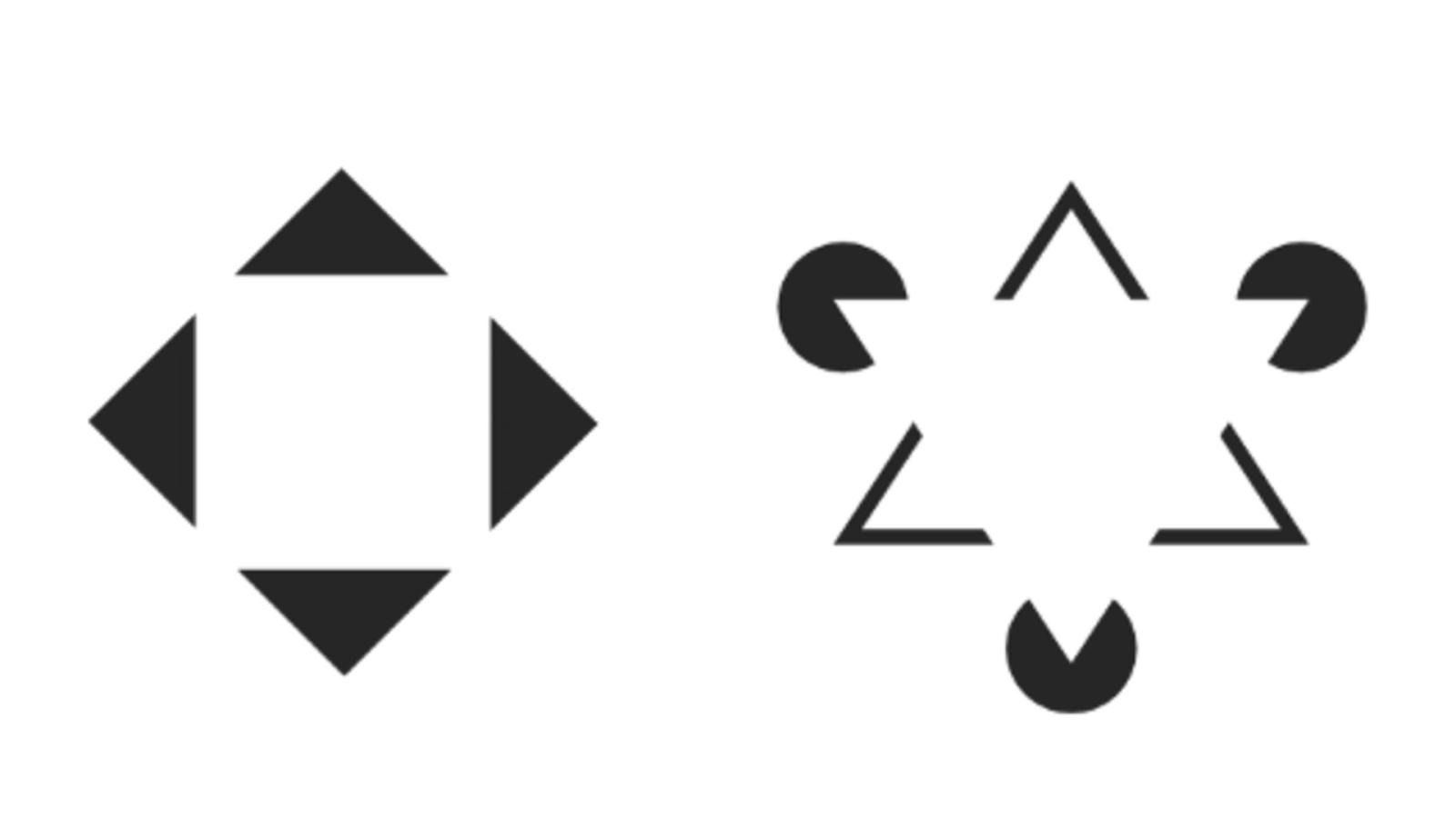 Наш взгляд распознает знакомые фигуры— белый квадрат и перевернутый треугольник в центре— там, где по факту их нет