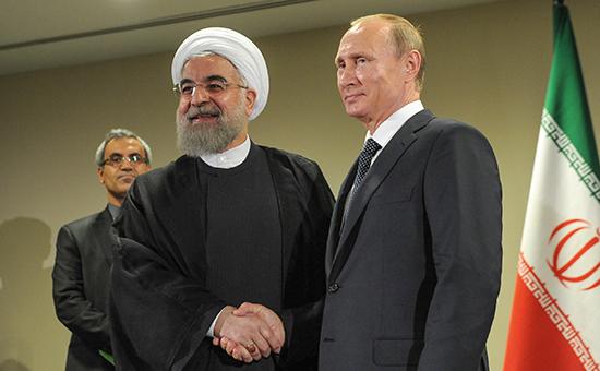 Президент Ирана Хасан Рухани ипрезидент России Владимир Путин (слева направо напервом плане) вовремя встречи врамках 70-й сессии Генеральной Ассамблеи ООН