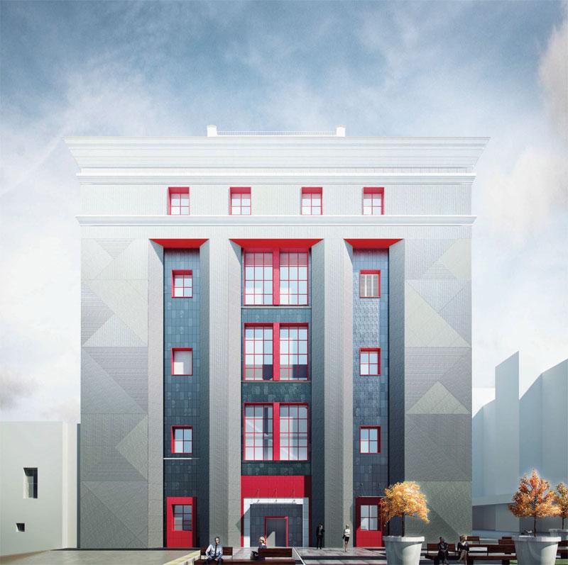 В отделке фасада архитекторы сочетают различные материалы, такиекаккерамический гранит ифиброцементные фасадные панели