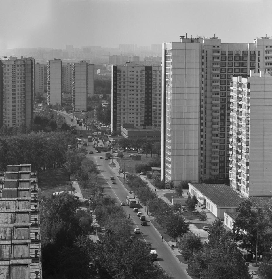 Вид на район Орехово-Борисово. 1995 год