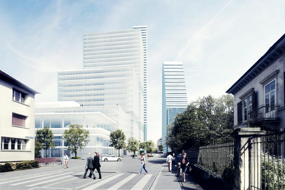 Базель, Швейцария  Пожалуй, главное, чтомосквичи могут вынести из«домашнего» проекта Herzog & de Meuron, это отсутствие компромиссов сосложившимся визуальным обликом Базеля ивысотностью существующих зданий. Архитекторов несмутило историческое наследие родного города. Вместо подражания старой швейцарской архитектуре Герцог иде Мюрон начали решительно превращать провинциальный город вновый деловой центр снебоскребами нафоне Альпийскихгор. У себя насайте авторы называют процесс «естественным ростом»