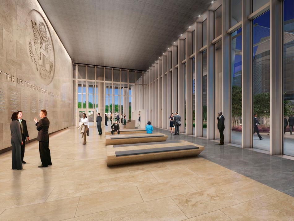 «Новый проект призван воплотить в здании идеалы американского правительства — прозрачность, открытость и равенство», — сказано в описании посольства на сайте архитекторов