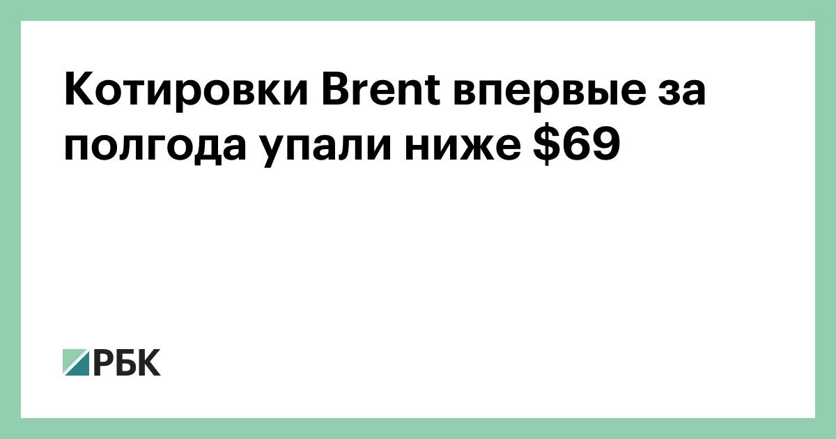 Котировки Brent впервые за полгода упали ниже $69