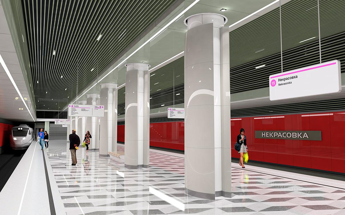Станция «Некрасовка» расположена на территории бывших Люберецких полей орошения, поэтому архитекторы постарались отразить в дизайне тему экологии земли