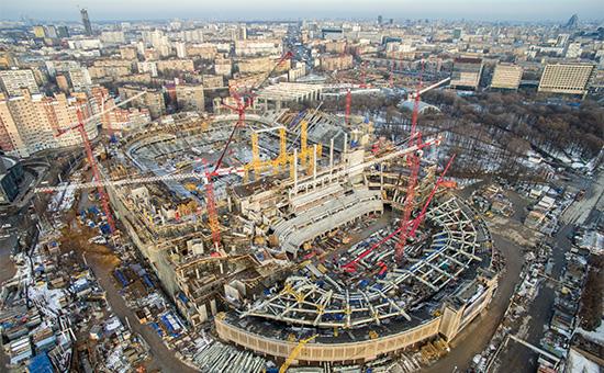 Строительная площадка Центрального футбольного стадиона «Динамо» имени Льва Яшина испортивного комплекса «ВТБ Арена парк»