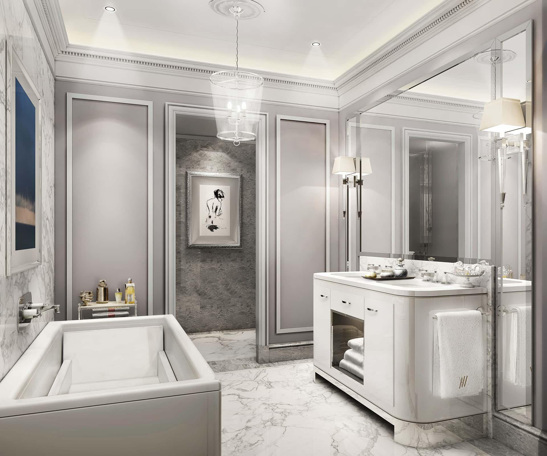 «Американский»  В ванной комнате — огромное зеркало-трельяж