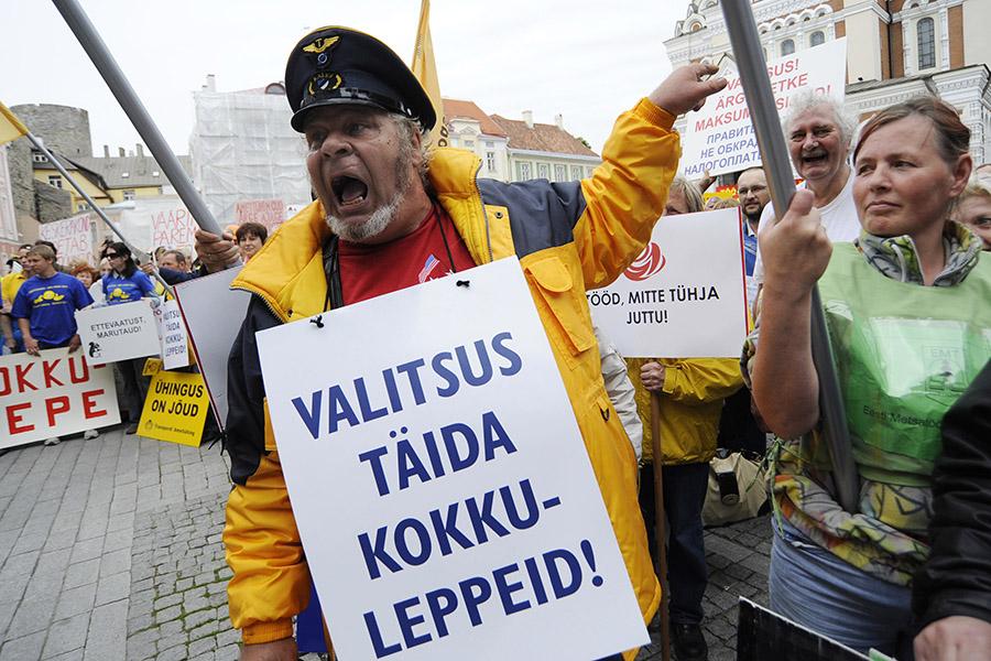 Профсоюзы Эстонии на митингепротив пособийпо безработице