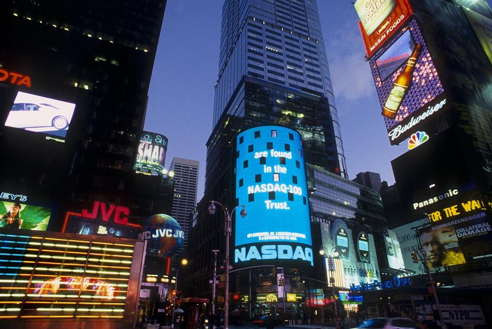 Nasdaq на Таймс-Сквер - один из первых медиафасадов в мире