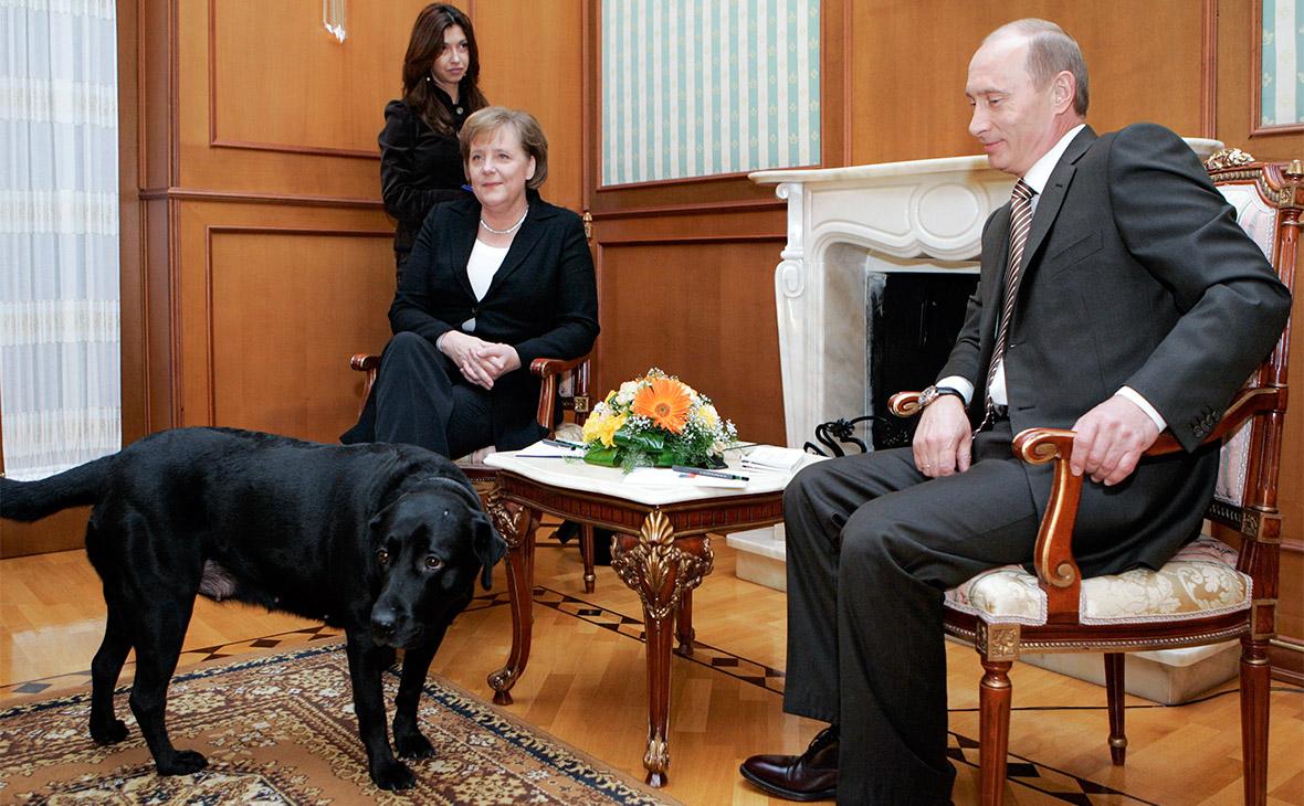 Владимир Путин и Ангела Меркель во время встречи в резиденции «Бочаров Ручей». 2007 год