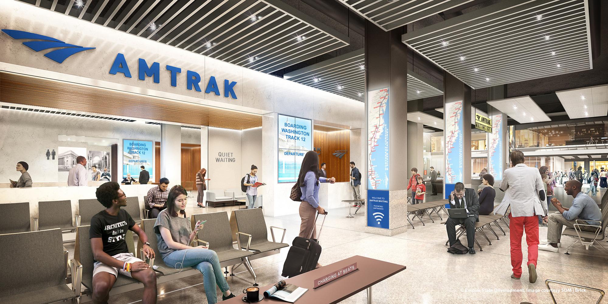 На Penn Station сходятся две независимые друг отдруга железнодорожные системы: железная дорога Лонг-Айленда (LIRR) игосударственный перевозчик Amtrak. Вместе они обслуживают сотни тысяч пассажиров