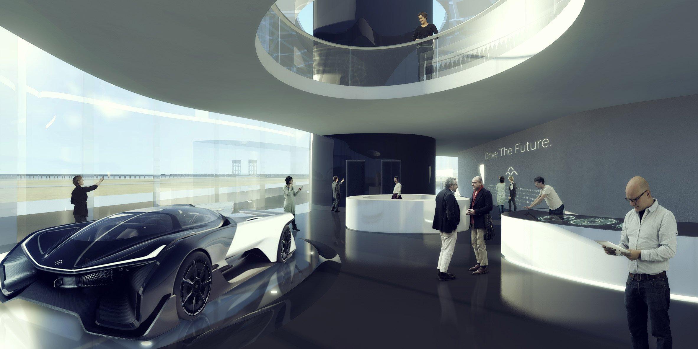 Потенциальные покупатели смогут с обзорной площадки наблюдать, как их машину доставляют со склада на вершину башни с помощью лифта