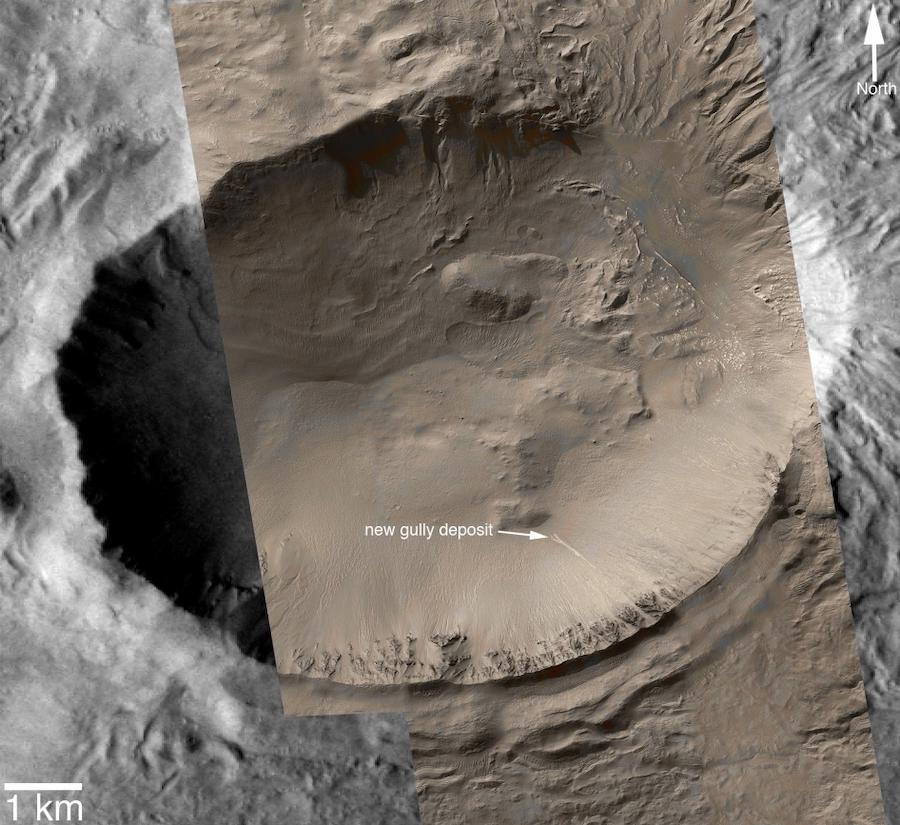 Фотография возможного водостока в одном из кратеров Марса, сделанная во время миссииMars Global Surveyor, 2005 год