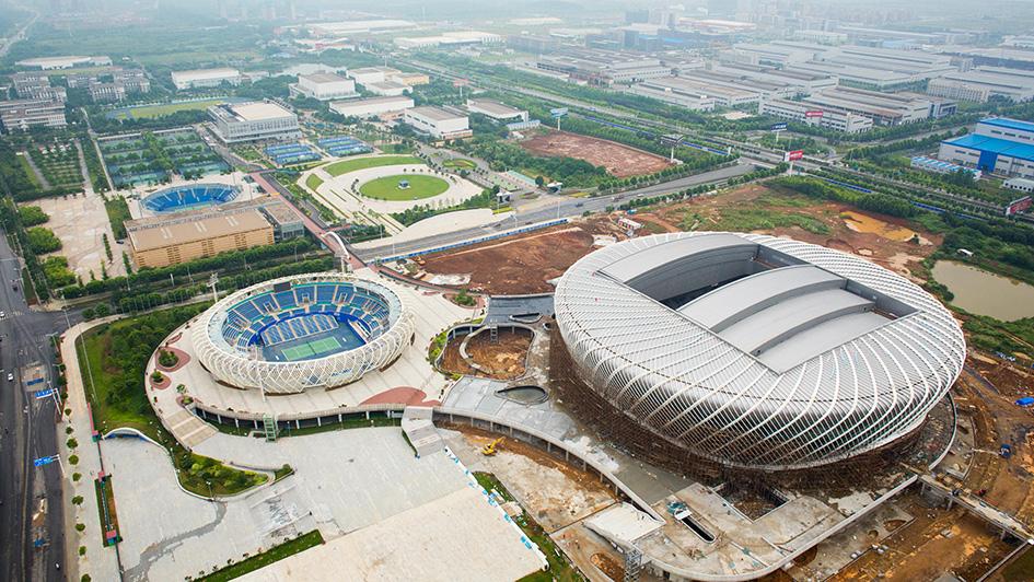 Вид на спортивный комплекс в Ухане