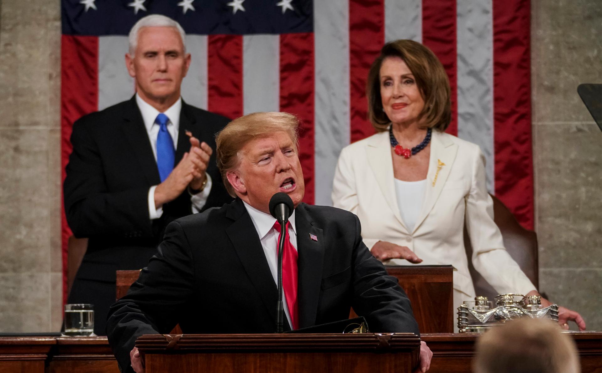 Президент США Дональд Трамп во время выступления в конгрессе