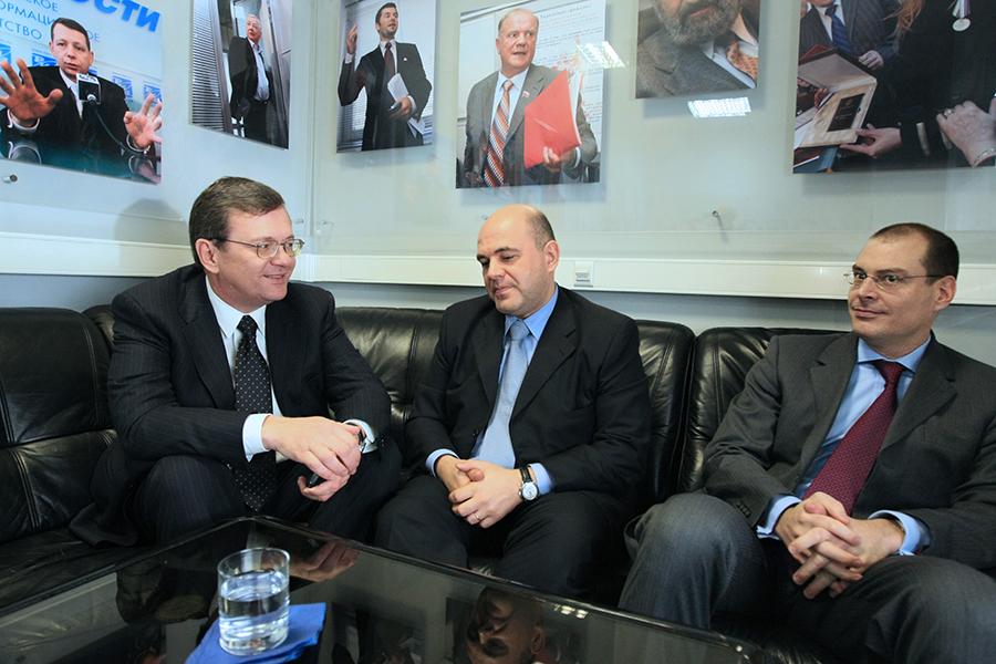 Руководство компании UFG Asset Management (слева направо): основной акционер Борис Федоров, президент Михаил Мишустин, управляющий партнер Флориан Феннер. 2008 год