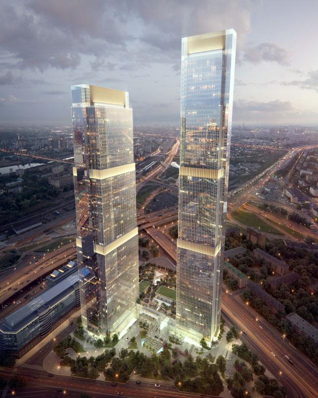 Renaissance Development  Высотки Neva Towers строятся напротив «Москва-Сити» на обособленном участке площадью 2,41 га. Здания будут объединены общим стилобатом. Высота башен — 290 и 338 м (63 и 77 этажей), а их общая площадь составит около 350 тыс. кв. м. Один из небоскребов станет полностью жилым, во втором помимо апартаментов предполагаются офисы