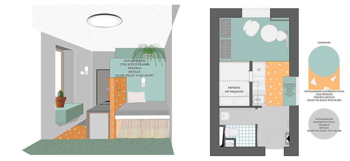 Площадь пространства всего 17 кв. м. Дизайнеры создали здесь несколько функциональных зон
