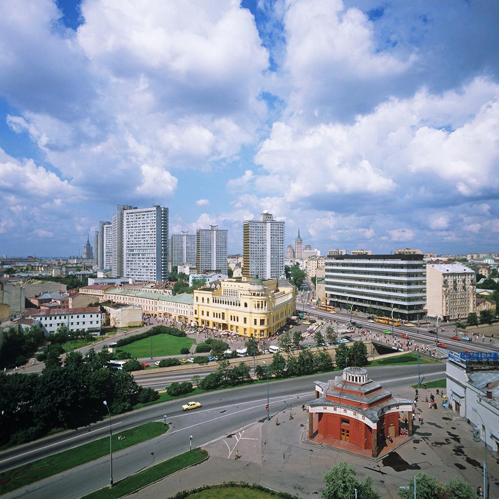 Вид на Калининский проспект, улицу Арбат и Гоголевский бульвар, 1986 год