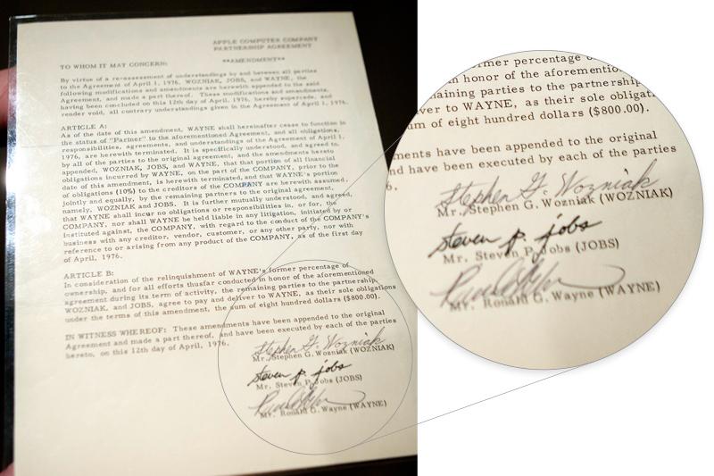 Документ о продаже доли за $800 с подписями Возняка, Джобса и Уэйна