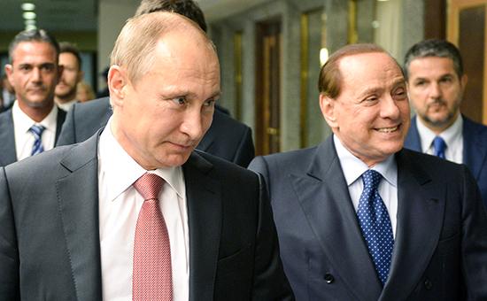 Президент РФВладимир Путин ибывший премьер-министр Италии Сильвио Берлускони. Архивное фото