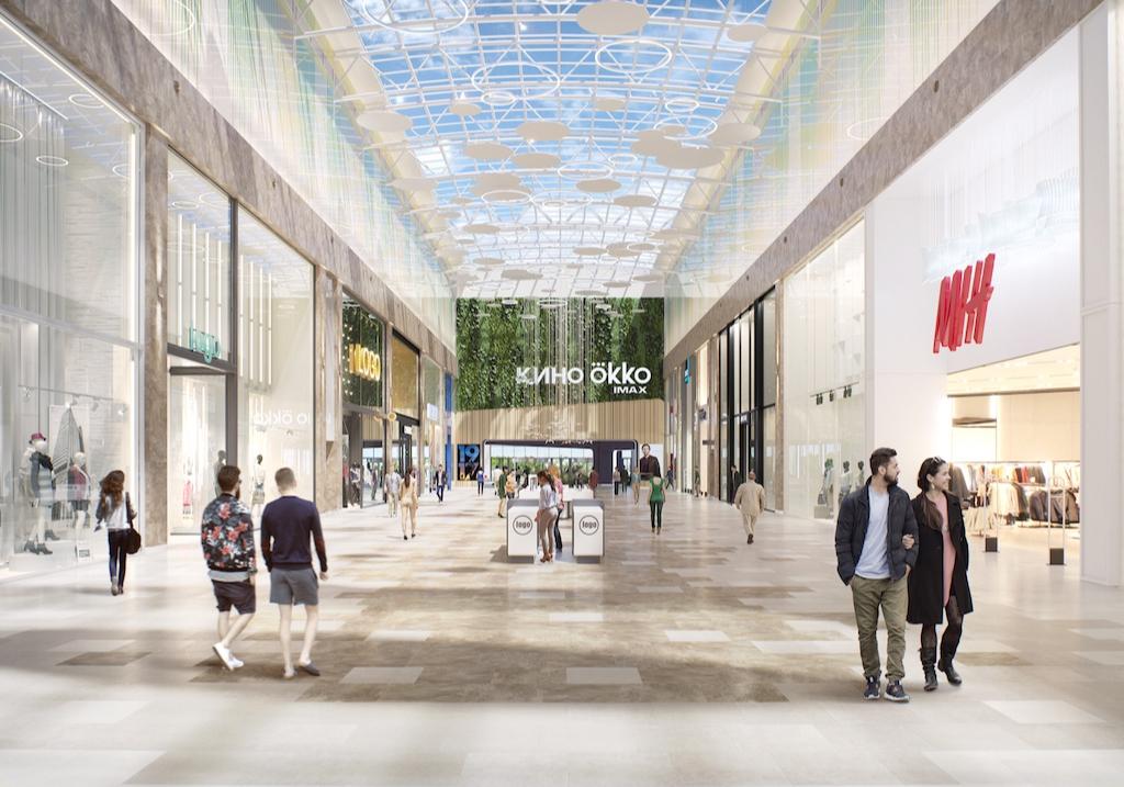 Над парковочной̆ зоной вторым ярусом разобьют зеленый парк (15 тыс. кв. м), в центре торгового центра будет площадь со сценой