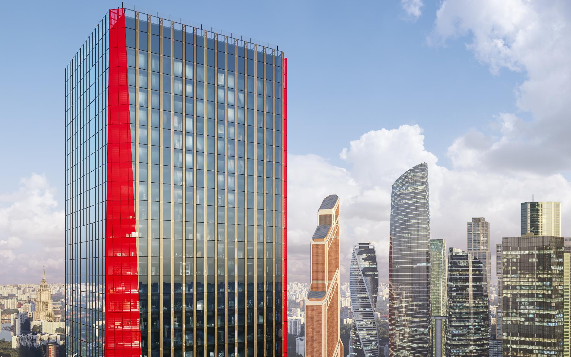Премиальный бизнес-центр iCITY на фоне «Москва-Сити». Визуализация MR Group
