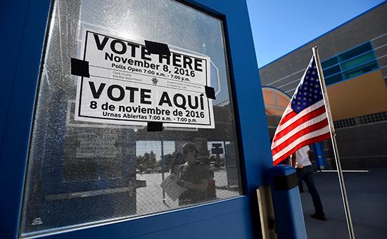 Избирательный участок во время голосования на президентских выборах США.8 ноября 2016 года