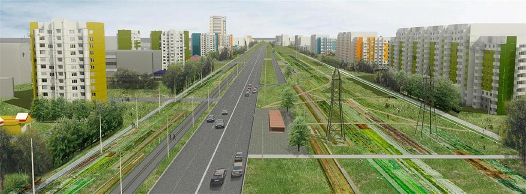 Проект благоустройства улицы с автодорогой, трамвайными путями и ЛЭП