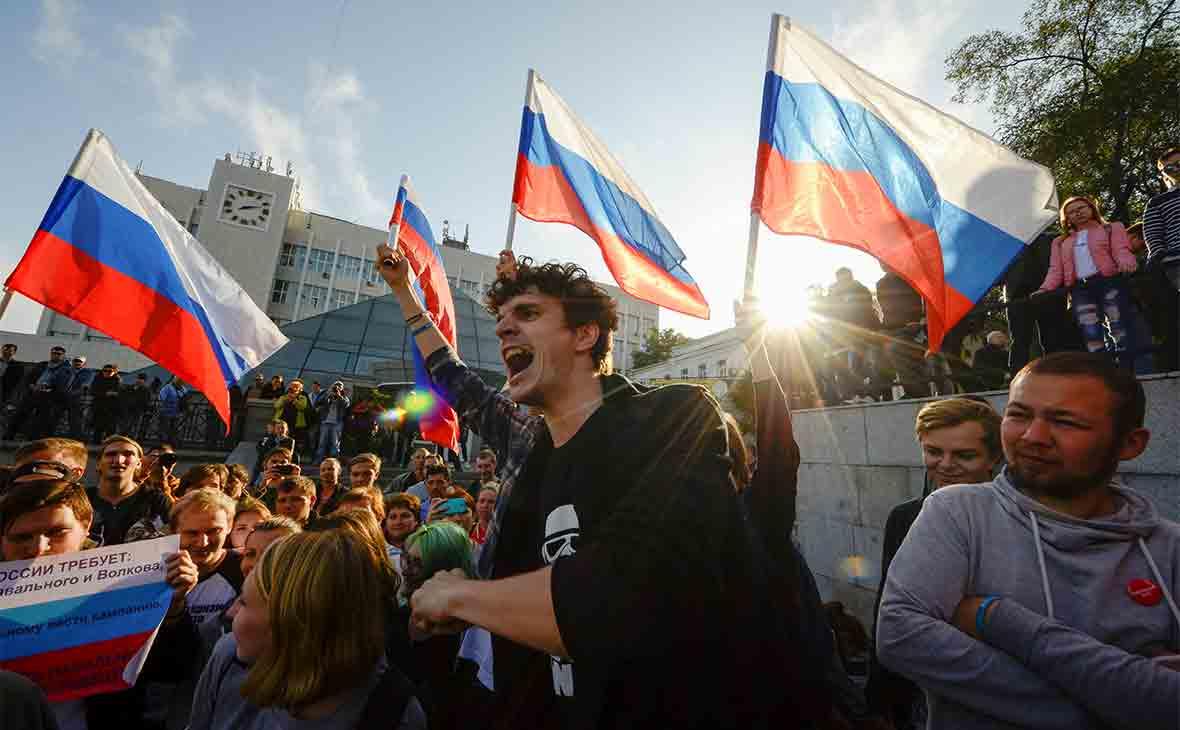 Акция сторонников Навального во Владивостоке