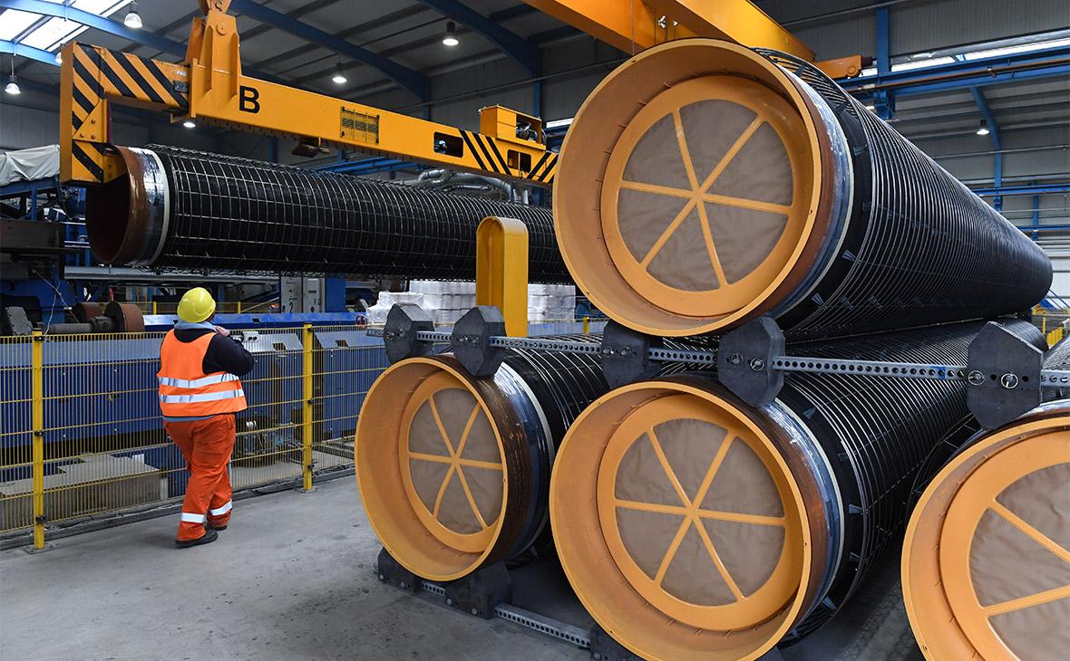Бетонирование труб для газопровода «Северный поток-2» на заводе Wasco в Германии