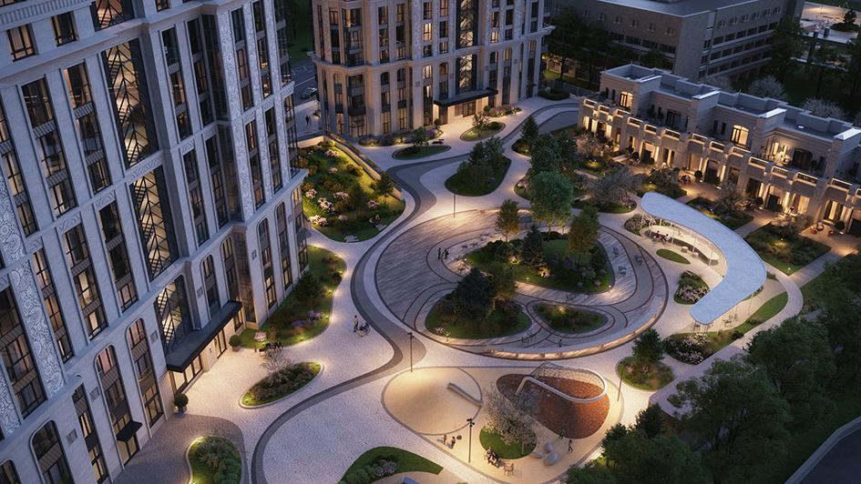 Вид на урбан-виллы в проекте SPIRES