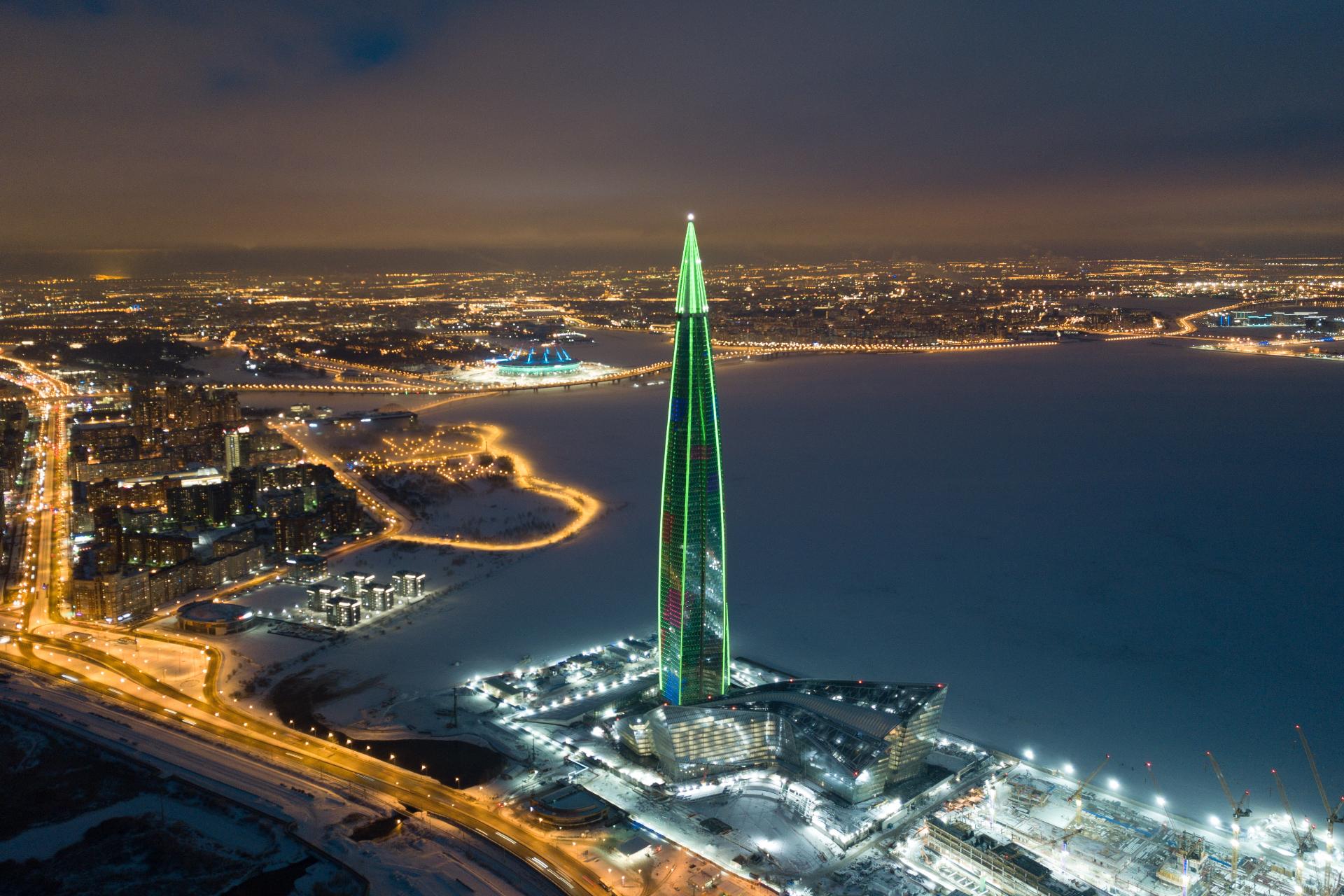 Подсветка многофункциональногообщественно-делового комплекса «Лахта Центр»